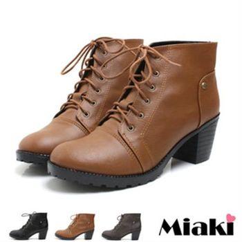【Miaki】MIT 韓風熱銷綁帶英倫粗跟短靴牛津靴 (米色 /黑色 / 深咖啡色 / 棕色)