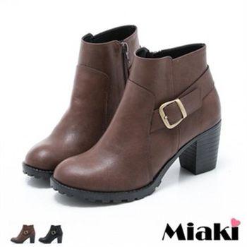 【Miaki】MIT 短靴首爾必敗圓頭踝靴休閒鞋(咖啡色/黑色)