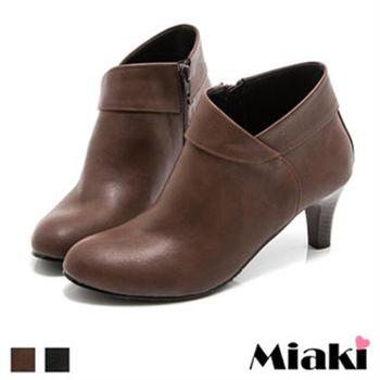 【Miaki】MIT 踝靴偶像韓劇側拉鍊圓頭短靴(咖啡色/黑色)