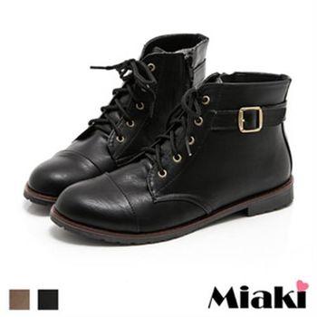 【Miaki】MIT 短靴首爾直擊平底綁帶牛津靴踝靴(咖啡色 / 黑色)