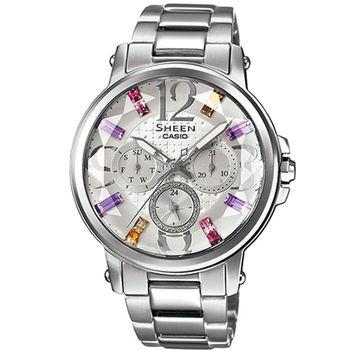 CASIO 卡西歐 SHEEN 施華洛世奇彩虹晶鑽腕錶-銀/38.4mm/SHE-3035D-7A