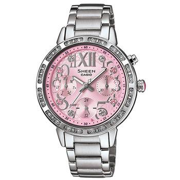 CASIO 卡西歐 SHEEN 甜心奢華三眼計時晶鑽女用腕錶-34mm/SHE-3036D-4A