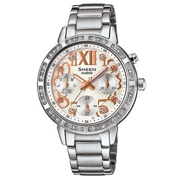 CASIO 卡西歐 SHEEN 甜心奢華三眼計時晶鑽女用腕錶-34mm/SHE-3036D-7A