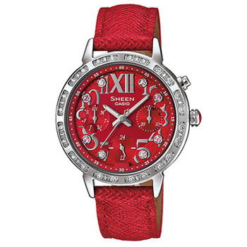CASIO 卡西歐 SHEEN 閃耀羅馬數晶鑽三針三眼皮帶腕錶/34mm/SHE-3036L-4A