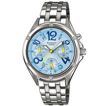 CASIO 卡西歐 SHEEN 霓虹時刻水藍三眼女用腕錶-35.4mm/SHE-3031D-2A/少女時代/水鑽