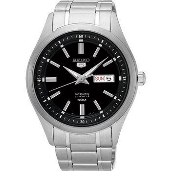 SEIKO 精工 5號盾牌日曆機械腕錶-黑/42mm 7S26-04M0D(SNKN89J1)