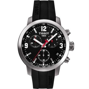 TISSOT PRC 200 競速三眼計時腕錶-黑x橡膠/42mm T0554171705700