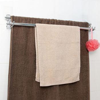 日本MAKINOU 隱形無痕貼系列-304不鏽鋼雙桿毛巾架