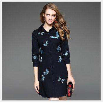 (現貨+預購 RN-girls)-歐美秋季新款精品時尚牛仔繡蝴蝶修身連身裙