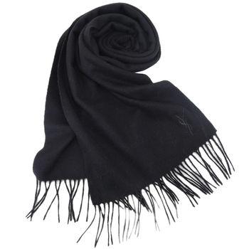 YSL 刺繡LOGO羊毛披肩/圍巾(駝)