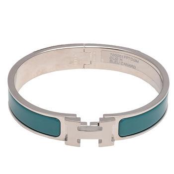 HERMES 愛馬仕 Clic H LOGO琺瑯細版手環(藍綠X銀-PM)