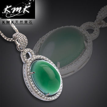 KMK天然寶石【低調奢華】南非辛巴威天然綠玉髓-項鍊