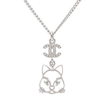 CHANEL 貓咪造型經典雙C LOGO水鑽鑲嵌長短項鍊(銀)