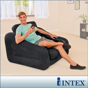【INTEX】二合一單人充氣沙發床/沙發椅-黑色 (68565)