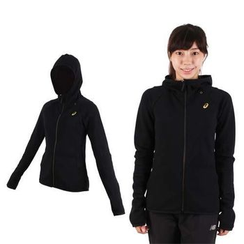 【ASICS】女運動外套-連帽外套 慢跑 路跑 亞瑟士 黑金  內裡刷毛
