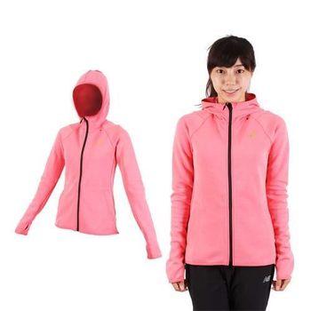 【ASICS】女運動外套-連帽外套 慢跑 路跑 亞瑟士 桃紅金  內裡刷毛