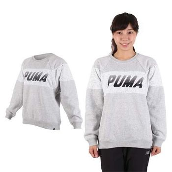 【PUMA】流行系列女長袖色塊圓領衫-T恤 慢跑 路跑 刷毛 灰黑白