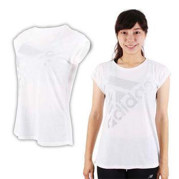 【ADIDAS】女運動短袖T恤-短T 慢跑 路跑 愛迪達 白銀