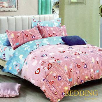 【BEDDING】活性印染雙人四件式舖棉床包兩用被組-花語