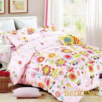 【BEDDING】活性印染雙人四件式舖棉床包兩用被組-花兒朵朵開