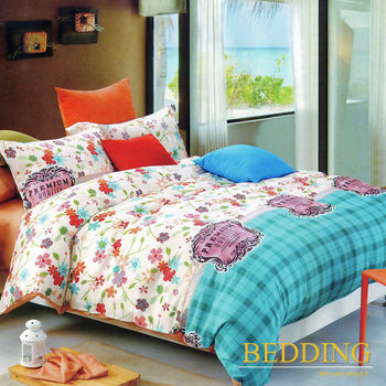 【BEDDING】活性印染雙人四件式舖棉床包兩用被組-艾琳娜-藍