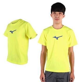 【MIZUNO】男短袖T恤 - 路跑 慢跑 健身 美津濃 芥末黃藍
