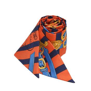 HERMES Brides de Gala條紋腰帶造型Twilly絲巾/領結(橘X藍-一組兩條)