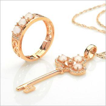 【品澐珠寶】貨+預購 925銀鑲嵌冰種翡翠鑰匙項鍊戒指套組