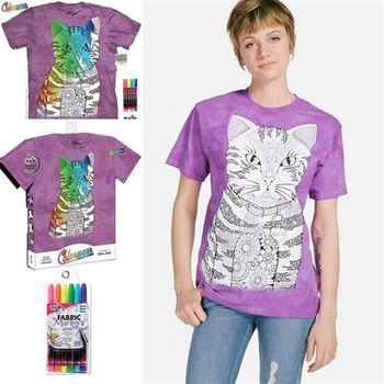 【摩達客】美國進口ColorWear貓咪喵喵(預購)DIY彩繪塗鴉短袖T恤(附畫筆+衣型盒)
