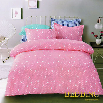 【BEDDING】活性印染雙人加大四件式舖棉床包兩用被組-愛心桃-粉