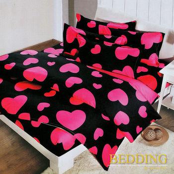 【BEDDING】活性印染雙人加大四件式舖棉床包兩用被組-心動十分