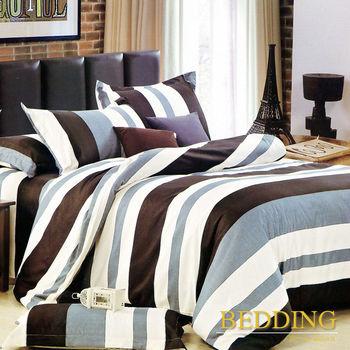 【BEDDING】活性印染雙人四件式舖棉床包兩用被組-鐵塔風情