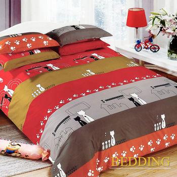 【BEDDING】活性印染雙人四件式舖棉床包兩用被組-貓之家