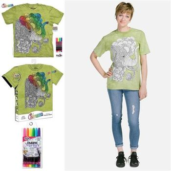 【摩達客】美國進口ColorWear印度象之夢(預購)DIY彩繪塗鴉短袖T恤(附畫筆+衣型盒)