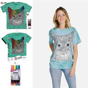 【摩達客】美國進口ColorWear貓咪小姐(預購)DIY彩繪塗鴉短袖T恤(附畫筆+衣型盒)