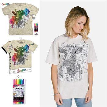 【摩達客】美國進口ColorWear花牛哞哞(預購)DIY彩繪塗鴉短袖T恤(附畫筆+衣型盒)