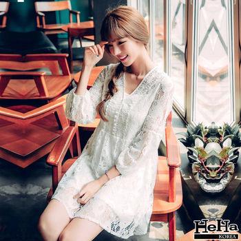 HeHa-寬鬆鏤空蕾絲連身裙洋裝 白色(附內搭)