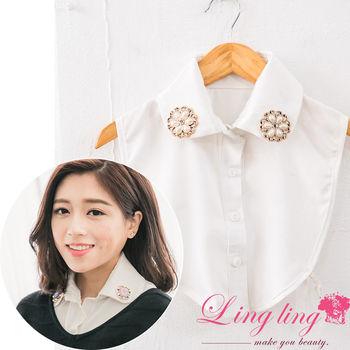 【lingling】假襯衫領子領片(白圓領)A2098-03
