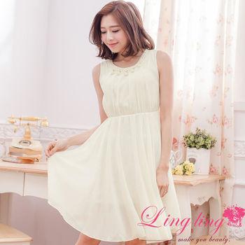 【lingling】領口珍珠收腰及膝背心洋裝(純真米杏)A2831-04