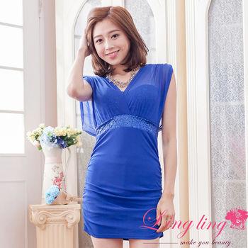 【lingling】亮片深V有罩式接紗洋裝(法國藍)A1666-05