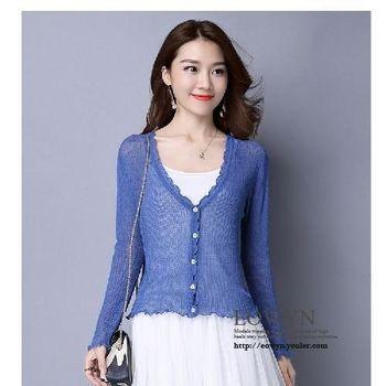 實拍镂空針織衫開衫毛衣空調衫短款長袖外套女藍色/粉紅色/黑色/白色/均碼