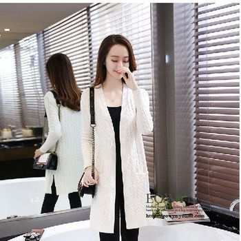 秋冬針織衫女開衫中長款長袖外搭毛衣外套粉紅色/黑色/灰色/米白色/均碼