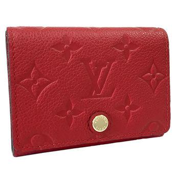 LV M58457 經典花紋皮革壓紋信用卡零錢包.紅_預購