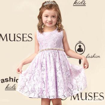 【OMUSES】紫蕾絲花女童洋裝禮服58-15533(100-150cm)