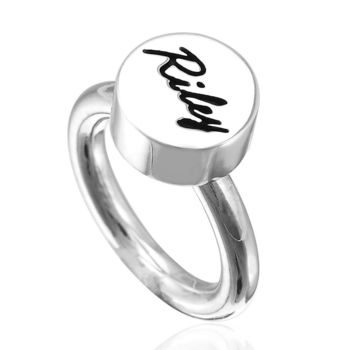 ART64 訂製姓名戒指 小圓 純銀戒 可愛字牌