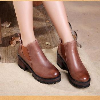 [背叛風情] 真皮休閒女靴頭層牛皮圓頭短靴高跟方根靴子防水台T16CXZ08653