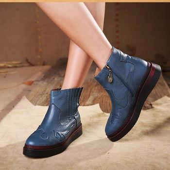 [背叛風情] 秋冬新款女士真皮短靴厚底側拉鍊圓頭女靴牛皮休閒靴子T16CXZ80375兩色