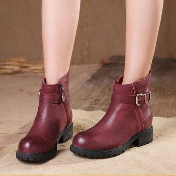 [背叛風情] 休閒女靴頭層牛皮圓頭中筒靴中跟拉鍊短靴T16CXZ15005兩色