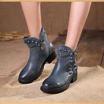 [背叛風情] 牛皮圓頭短靴真皮平跟休閒女靴側拉鍊個性民族風T16CXZ15002兩色