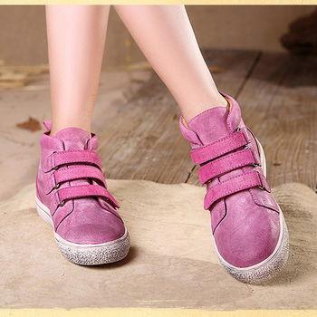 [背叛風情] 真皮圓頭短靴頭層牛皮復古休閒女靴魔術貼平底靴子T16CXZ12603兩色